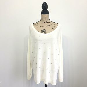 Apt 9 Sweater XL White Long Sleeve Scoop